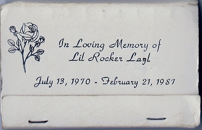 Matchbook cover from Lil Rocker's funeral